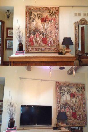 Creative ideas hiding a tv in the living room 12