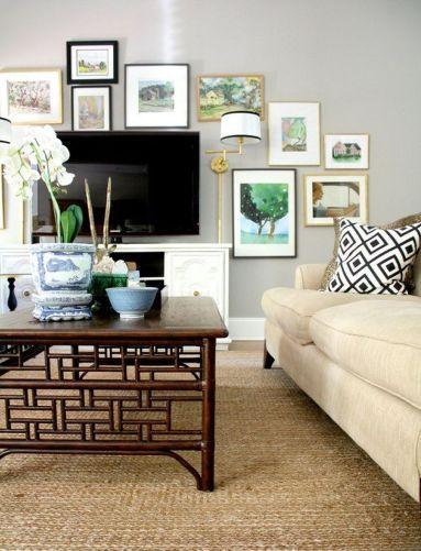 Creative ideas hiding a tv in the living room 21
