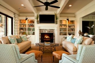 Furniture placement ideas with fireplace 17