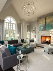 Incredible teal and silver living room design ideas 29
