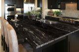 Inspiring black quartz kitchen countertops ideas 02