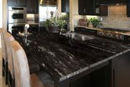 Inspiring black quartz kitchen countertops ideas 02