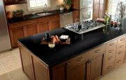 Inspiring black quartz kitchen countertops ideas 06