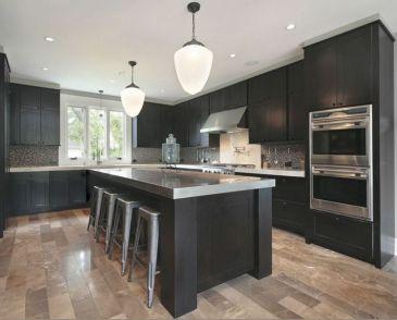 Inspiring black quartz kitchen countertops ideas 13