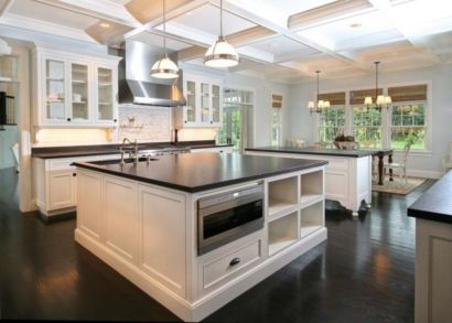 Inspiring black quartz kitchen countertops ideas 48