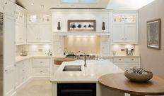 Modern cream painted kitchen cabinets ideas 03