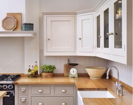 Modern cream painted kitchen cabinets ideas 20