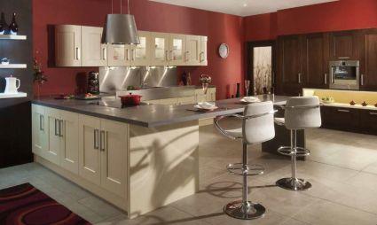 Modern cream painted kitchen cabinets ideas 23