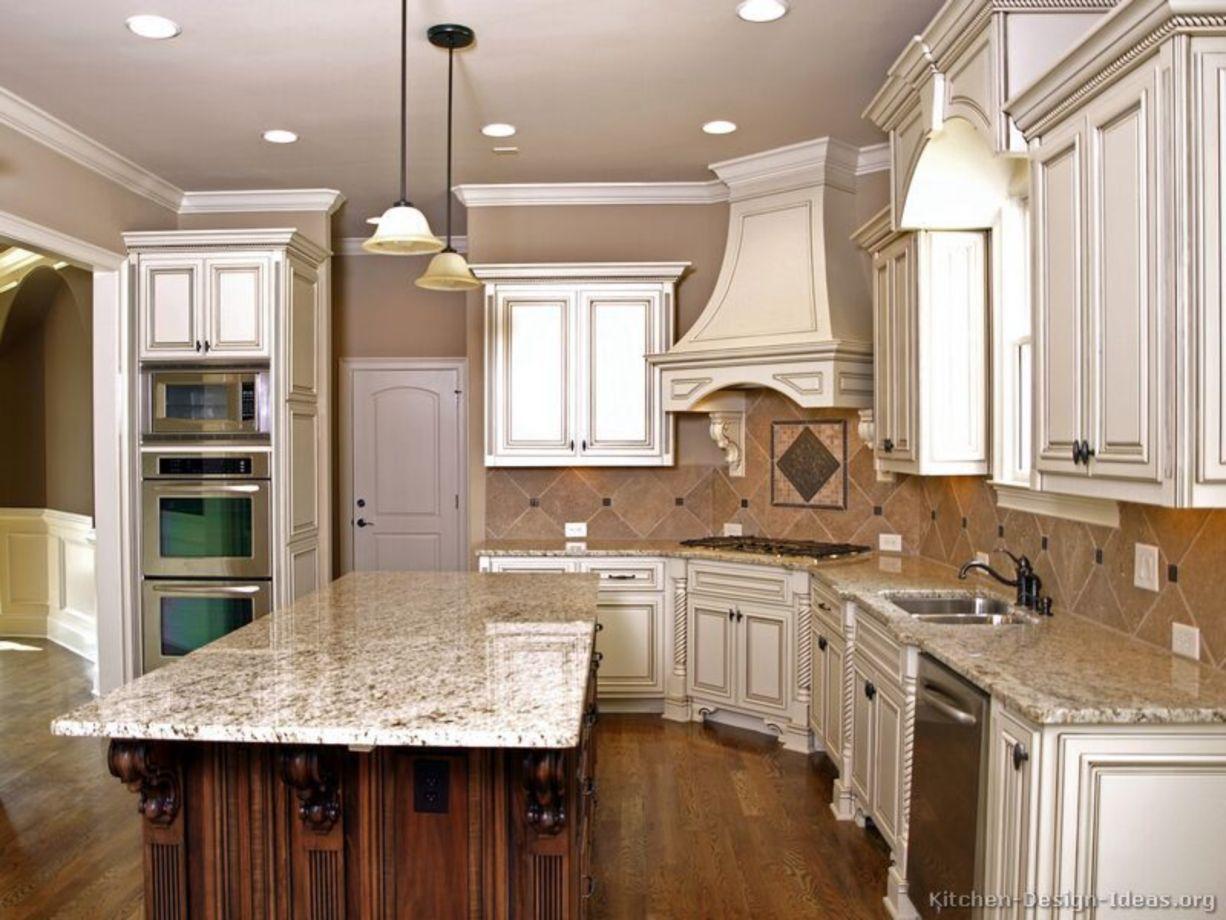 Modern cream painted kitchen cabinets ideas 37 - ROUNDECOR