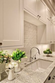 Modern cream painted kitchen cabinets ideas 45