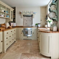 Modern cream painted kitchen cabinets ideas 49