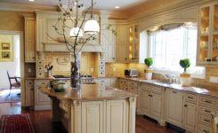 Modern cream painted kitchen cabinets ideas 66