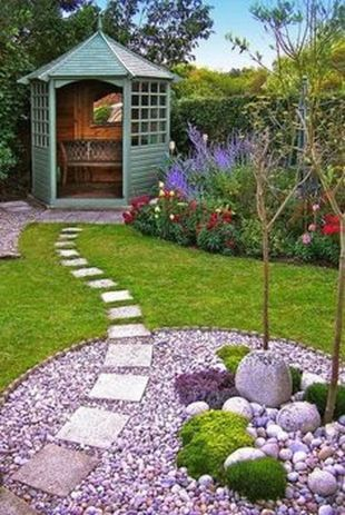 Stunning garden design ideas with stones 35