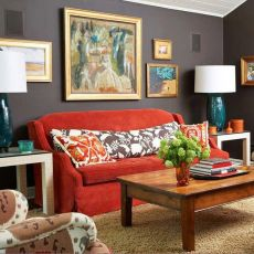 Stunning red brown and black living room design ideas 07