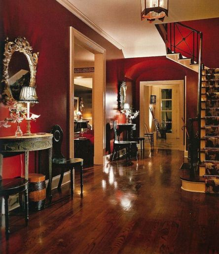 Stunning red brown and black living room design ideas 42