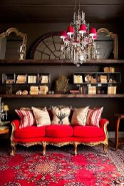 Stunning red brown and black living room design ideas 65