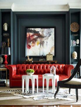 Stylish dark green walls in living room design ideas 08