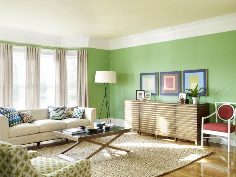 Stylish dark green walls in living room design ideas 09