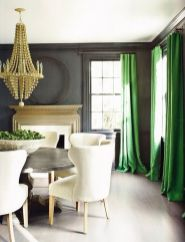 Stylish dark green walls in living room design ideas 20