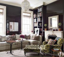 Stylish dark green walls in living room design ideas 27