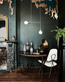 Stylish dark green walls in living room design ideas 38