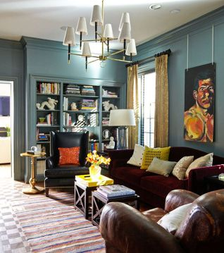 Stylish dark green walls in living room design ideas 56