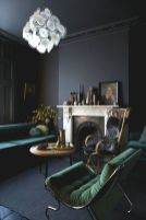 Stylish dark green walls in living room design ideas 57