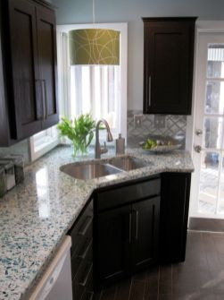 Stylish kitchen designs ideas with corner sinks 14