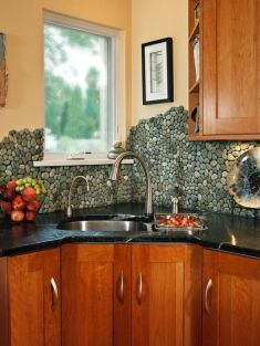 Stylish kitchen designs ideas with corner sinks 23