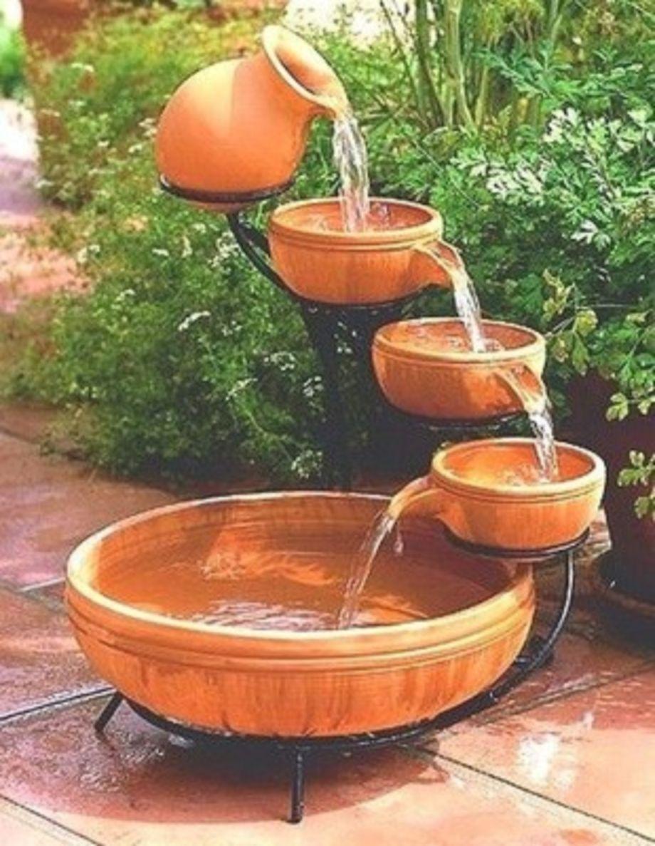 Stylish outdoor garden water fountains ideas 13