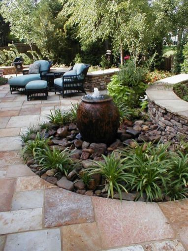 Stylish outdoor garden water fountains ideas 15