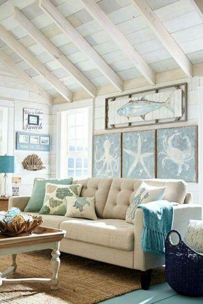Creative diy beachy living room decor ideas (11)