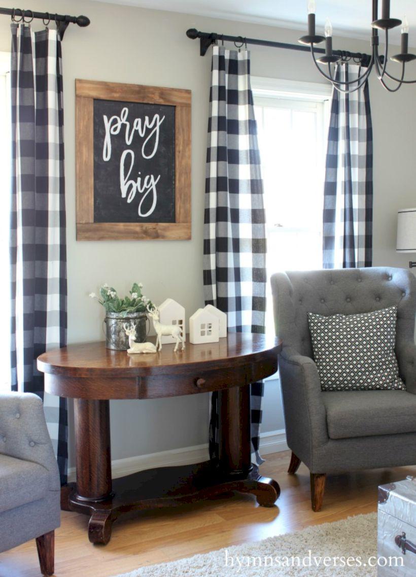 Rustic Living Room Curtains Design Ideas 56 ROUNDECOR