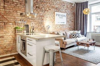 Small modern industrial apartment decoration ideas 36