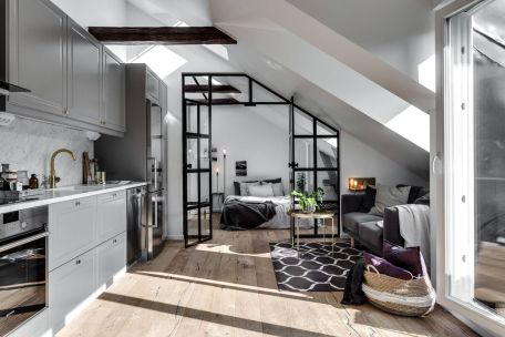 Small modern industrial apartment decoration ideas 41