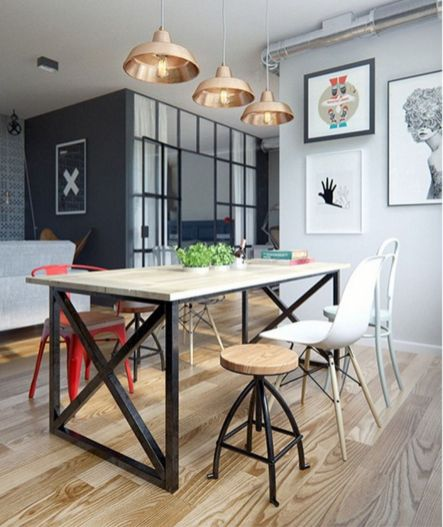 Small modern industrial apartment decoration ideas 58