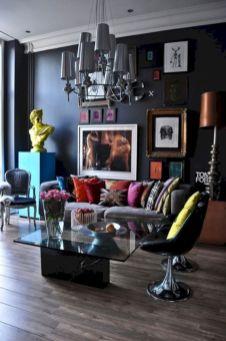 Stylish dark wood floor ideas for your living room (10)