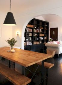 Stylish dark wood floor ideas for your living room (8)