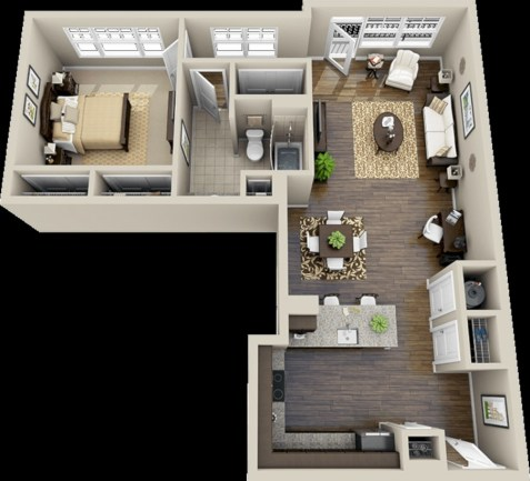 Cool one bedroom apartment plans ideas 28