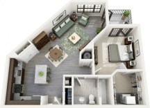 Cool one bedroom apartment plans ideas 42