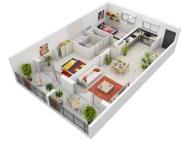 Creative two bedroom apartment plans ideas 07