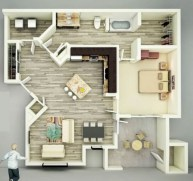 Creative two bedroom apartment plans ideas 23