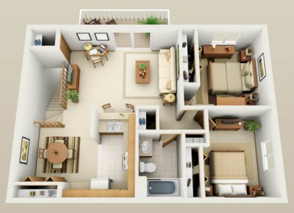 Creative two bedroom apartment plans ideas 32