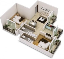 Creative two bedroom apartment plans ideas 33