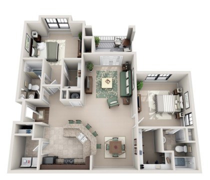 Creative two bedroom apartment plans ideas 39