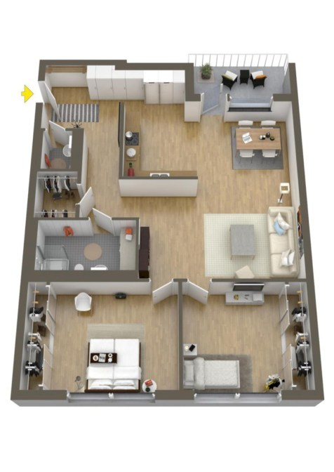 Creative two bedroom apartment plans ideas 48