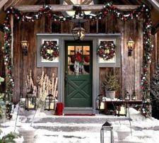 Ideas how to make comfortable rustic outdoor christmas décoration 46