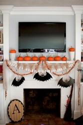 Inspiring halloween fireplace mantel ideas 44