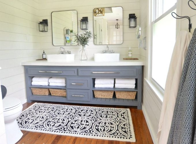 Paint colors farmhouse bathroom ideas (26)