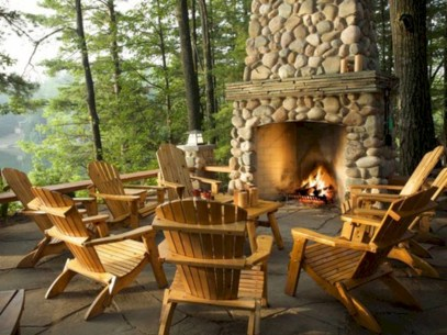 Stunning outdoor stone fireplaces design ideas 11